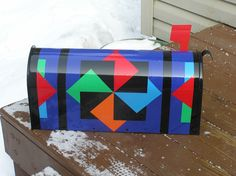 Quilt Pattern Mailbox, Twisting Star pattern. I liked this pattern so much that…