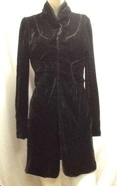 Elie Tahari Velvet Dress Long Sleeves Small Lined Steampunk Buttons Hooks  #ElieTahari #Coatdress #Casual