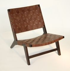 Brown Leather Woven Strap Lounge Chair 9