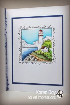 Lighthouse Window M3175: Art Impressions Window To The World series.  Nautical handmade card.