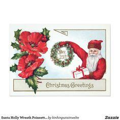 Santa Holly Wreath Poinsettia Present Dec Postcard Christmas Gift Tags, Christmas Greeting Cards, Christmas Greetings, Vintage Christmas, Christmas Postcards, Vintage Invitations, Invitation Paper, Holly Wreath, Vintage Greeting Cards