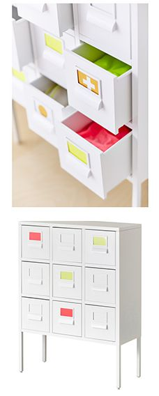 IKEA Fan Favorite: SPRUTT cabinet with drawers. The included label holder helps you to create an overview to quickly find your things.