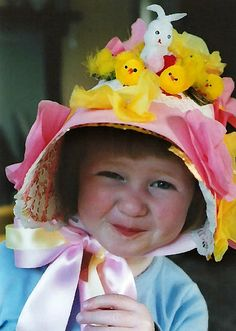 I quite like the idea of a floppy Easter bonnet like this one. I imagine this could be made from some stiff card with a band of wide ribbon over the top and round to secure it.