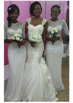 Nigerian Wedding - Bride & Bridesmaids - Dresses by Brides and More Ikeja White Bridesmaid Dresses, Brides And Bridesmaids, African Wedding Dress, African Weddings, African American Brides, Ethnic Wedding, Black Bride, Beautiful Dresses, Wedding Gowns