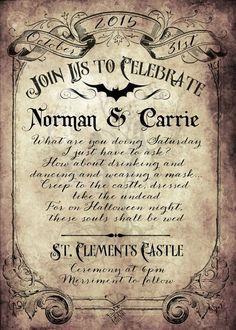 Victorian Goth Wedding Invitation & Reply Card