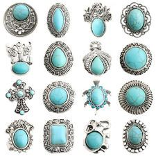 New Fashion Tibetan Silver Oval Carved Turquoise Inlay Adjustable Ring Jewelry