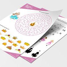 Masser af god underholdning i prinssse tema, med opgaver som prik til prik, labyrinter, find fem fejl og meget mere. Skal blot hentes ned og printes. Til børn fra 5 år. Printer, Playing Cards, Games, First Grade, Printers, Playing Card Games, Gaming, Game Cards, Plays