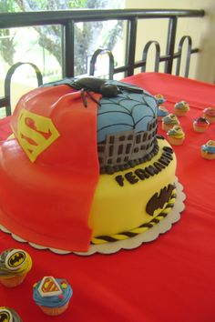 Superman, Batman & Spiderman cake