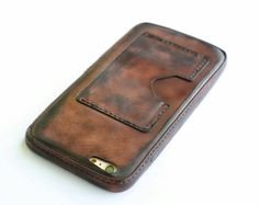 leather iphone 6 plus case personalization wallet women & men handmade sleeve custom initials pocket leather cover in brown dark #4K