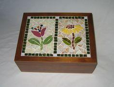 Caixa de Chá em mosaico Flores Francesas