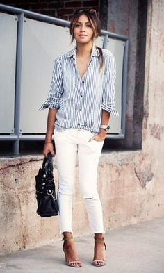 Look: Calça Branca + camisa listrada