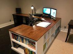 Farmhouse desk diy offices ana white 63 ideas for 2019 Diy Office Desk, Diy Computer Desk, Home Office Space, Diy Desk, Home Office Desks, Corner Desk Diy, Office Ideas, Ikea Desk, Office Decor