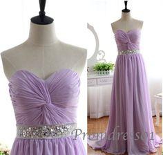 2015 cute sweetheart strapless beaded lavender chiffon long prom dress for teens, purple evening dress, grad dress, ball gown, bridesmaid dress #promdress #wedding