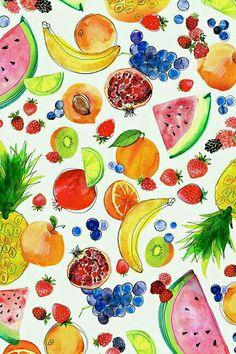 Trendy Ideas For Fruit Basket Illustration Art Prints Cute Wallpapers, Wallpaper Backgrounds, Iphone Wallpaper, Fruit Illustration, Food Illustrations, Wallpaper Telephone, Watercolor Fruit, Summer Wallpaper, Ipad Art