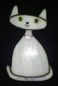 """Stained Glass Suncatcher """"Loving Kitten"""" (D-7)"""