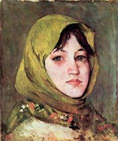 "Painting by Romanian artist Ion Andreescu ""Taranca cu basma verde"" (Peasant woman with green kerchief) L'art Du Portrait, Abstract Portrait, Portrait Paintings, Painting Abstract, Acrylic Paintings, Art Paintings, Klimt, Expositions, Art Database"