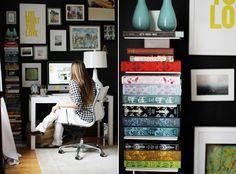 Office, gallery wall, shelving, black paint