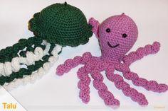 qualle-haekeln-amigurumi-krake-oktopus-titel-41 Baby Octopus, Knit Crochet, Crochet Hats, Amigurumi Tutorial, Amigurumi Toys, Free Pattern, Diy And Crafts, Crochet Necklace, Bunny