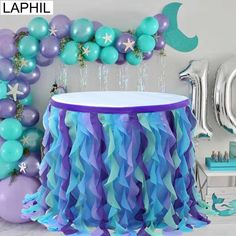 Under the Sea Party Blue Pink Tulle Table Skirt Wedding Table Decor Baby Shower Gender Reveal Suppli Mermaid Theme Birthday, Little Mermaid Birthday, Little Mermaid Parties, Blue Birthday Themes, Women Birthday, Birthday Numbers, 8th Birthday, Lila Party, Blue Party