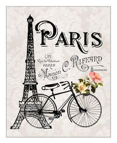 Eiffel Tower and Bicycle & French Parisian Print, French Country Cottage Style, Gray and Black The post Paris France Illustration Art Print Eiffel Tower Bicycle and Flowers Artwork appeared first on Trendy. Paris Torre Eiffel, Paris Eiffel Tower, Eiffel Towers, Vintage Paris, Vintage Retro, Vintage Romance, Vintage Gifts, Vintage Kitchen, French Vintage