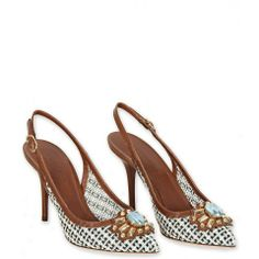 Green, Cream & Brown Leather Crystal Embellished Slingback Pumps from www.profilefashion.com