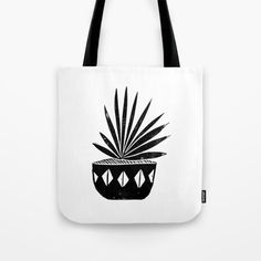 Aloe houseplant linocut lino print black and white minimal modern office home dorm college decor Tote Bag by Monoo | Society6