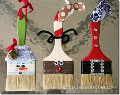 ornaments, I want to make some of these for my DIY friends. holiday, gift, christmas crafts, diy ornaments, brush ornament, paintbrush, paint brushes, christmas ornaments, homemade paint