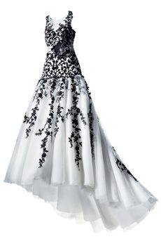 love - Black and white beaded lace and tulle wedding gown, $1,199, Alfred Angelo