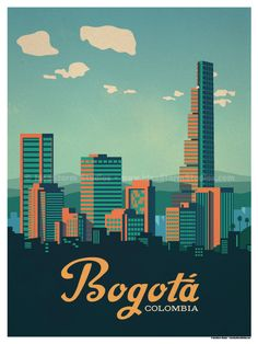 Vintage Poster Image of Bogotá Poster - Size - Size includes a inch white border around the artwork. Digital Print on 80 lb cover matte white Physical poster does. Old Poster, City Poster, Kunst Poster, Colombia Travel, Cali Colombia, Photo Vintage, Vintage Art, Skyline Art, Story Instagram