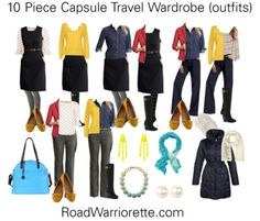 10 piece wardrobe outfits for business casual work travel