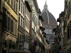 View of the Duomo from the streets of Florence, Italy.