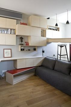Living in a tiny studio apartment can be a challenge. This 130 square foot micro apartment in Paris, France has a clever design which makes living in a tiny space extremely efficient. Studio Apartment Living, Studio Apartments, Tiny Apartments, Paris Apartments, Tiny Spaces, Apartment Ideas, Parisian Apartment, Student Apartment, Apartment Sofa