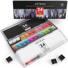 Metallic Watercolor Paint, Half Pans - Set of 24   ARTEZA