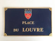 Vintage French Parisian Blue Street Sign PLACE du