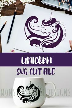 Pretty Unicorn SVG Cut File and clipart. I love how flowy and happy she looks! Unicorn Kids, Unicorn Crafts, Unicorn Birthday, Unicorn Party, Unicorn Stencil, Etched Glassware, Monster High Party, Silhouette Cameo Projects, Cricut Creations