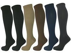 1417416c12 Amazon.com: 6 Pairs of Upgraded Knee High Graduated Compression Socks For  Women and Men - Best Medical, Nursing, Travel & Flight Socks - Running &  Fitness ...