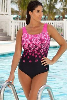 Aquabelle Chlorine Resistant! Pink Exploded Floral Plus Size Swimsuit Women's Swimwear