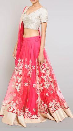 Pink Embroidered Net Lehenga Choli - Bridal - Lehengas