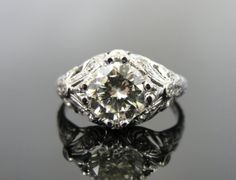 One and a Half Carat Art Deco Fine Diamond Filigree Engagement Ring, Antique RGDI497 on Etsy, $9,865.00