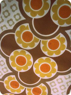 Vintage 1970s Wallpaper  Orange And Brown Flower by Pommedejour, $14.00