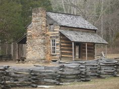 Old barns and rustic buildings.
