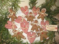 Primitive handmade Christmas gingerbread bakers