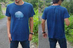 ヘンプコットンTシャツ 藍染めに一本木(いっぽんぎ) 麻と柿渋染め・草木染めのみつる工芸