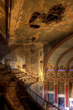 Upper balcony at the beautiful abandoned Lyric Theatre in Birmingham, Alabama. The Lyric Theater opened in 1914 as a vaudville theatre.