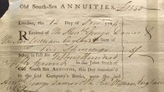 South Sea annuities share certificate London, 1784. (Credit: Universal History Archive/Getty Images)