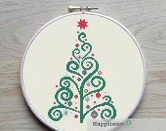 christmas cross stitch pattern modern christmas tree por Happinesst