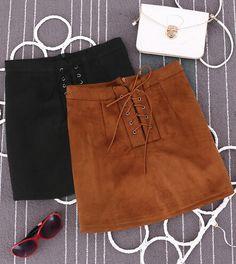 055b4f5c67c8 Aliexpress.com   Buy 2015 Autumn New Suede Leather Drawstring High Waist  Slim Hip Short Vintage A line Casual Brown Skirts Brand Saia Faldas Jupe  from ...