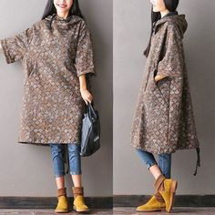 Women Large Autumn Hooded Coat