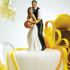 Basketball Couple Cake Top - for the bride and groom who can't get enough of basketball!