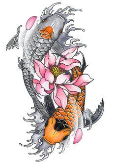 Pez Koi Tattoo, Coy Fish Tattoos, Koi Dragon Tattoo, Koi Tattoo Sleeve, Tattoo Sleeve Designs, Cute Tattoos, Body Art Tattoos, Dragon Koi Tattoo Design, Koi Fish Tattoo Forearm